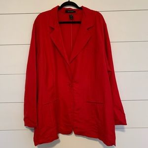 Ashley Stewart Linen Blazer Single Button